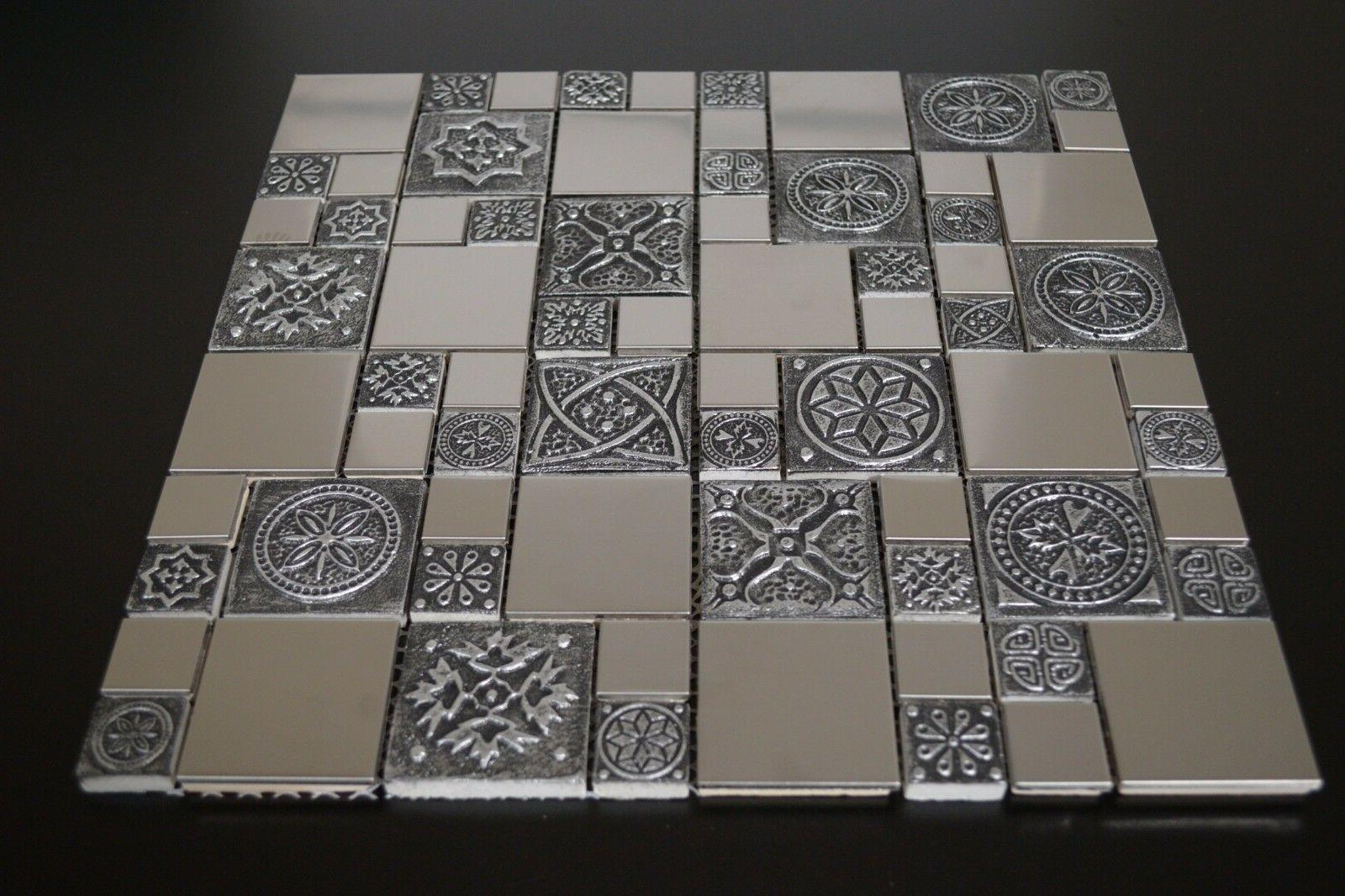 Stainless Steel Metal Mosaic Tile Fireplace & Wall Decor