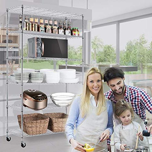 "Storage Shelf Tier 82""x48""x18"" Wire Unit Wheels Sturdy Steel Casters Heavy Restaurant Pantry Kitchen Space-Saving Overall Rack"