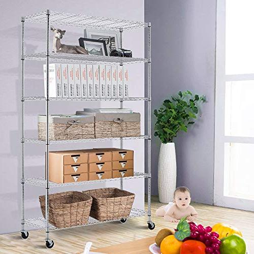 Storage Shelf Tier Unit with Steel Layer Casters for Restaurant Garage Pantry Space-Saving Chrome Kitchen
