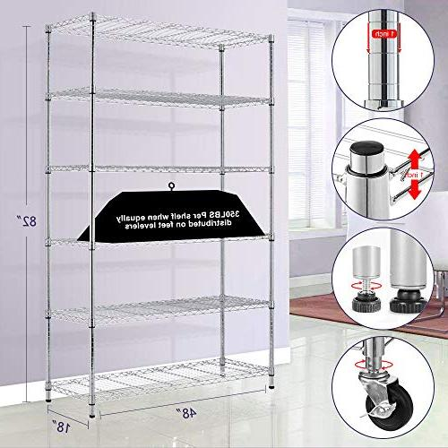 "Storage 6 Tier 82""x48""x18"" Unit Steel Layer Casters for Restaurant Space-Saving Overall Kitchen Rack"