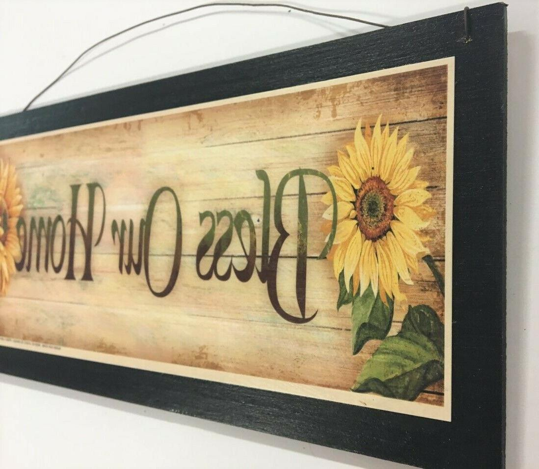 sunflowers Bless country kitchen art sign wood decor flower