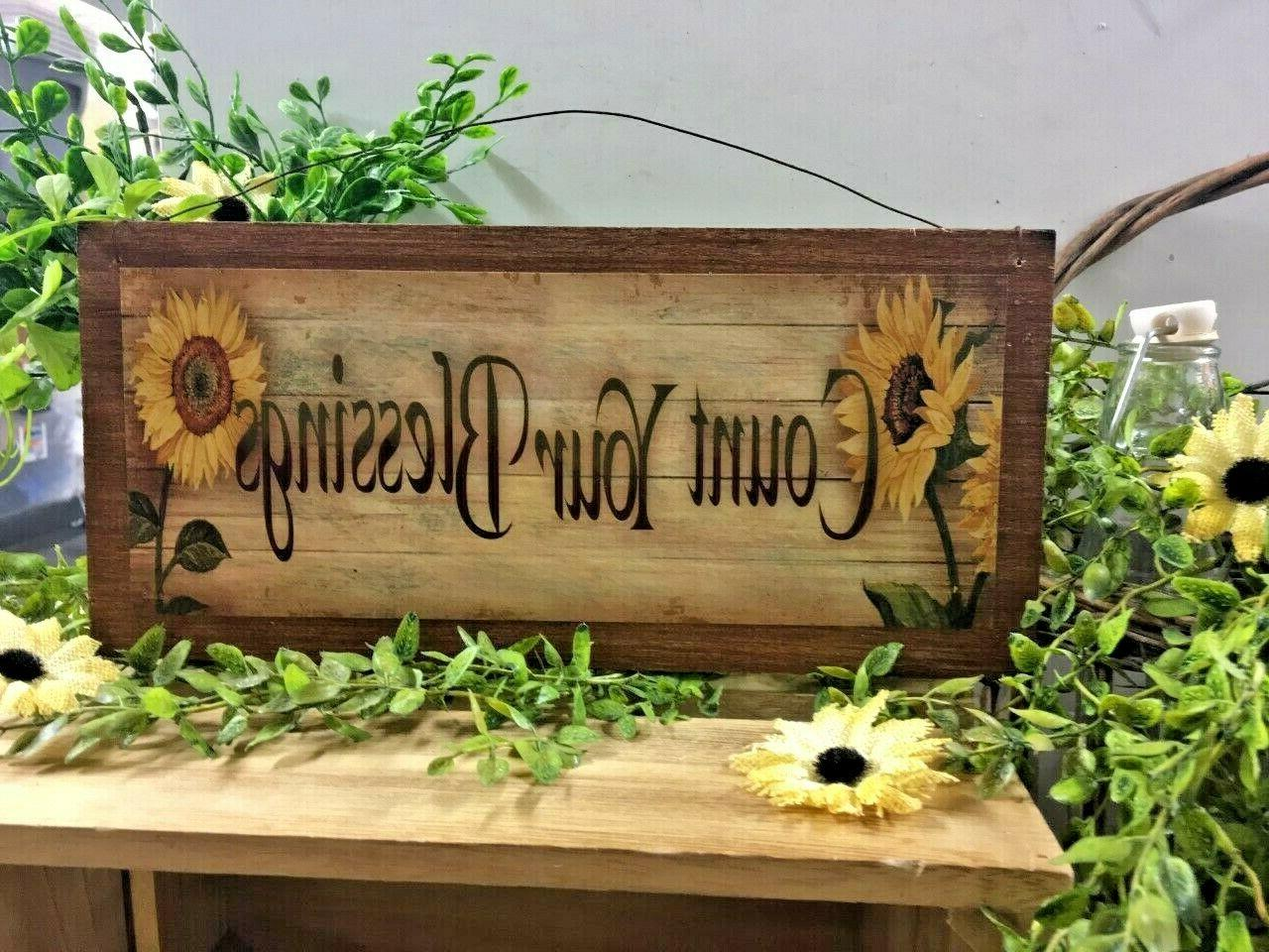 sunflowers count your blessings country kitchen wooden wall