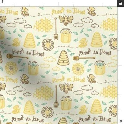 Sweet As Honey Kitchen Decor Hive Fabric Printed Spoonflower BTY