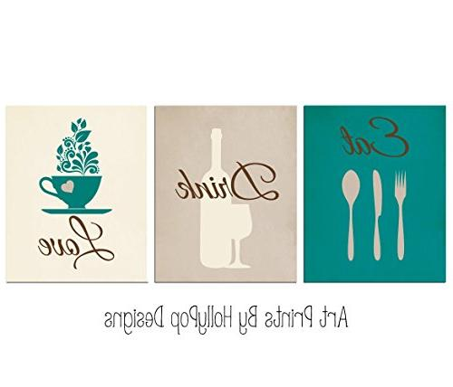 teal brown kitchen print set