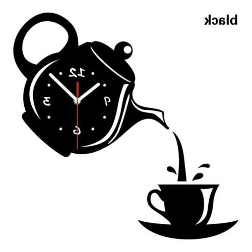 Wall Clock Coffee Cup Shaped Vintage Decorative Kitchen Wall