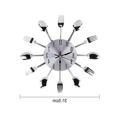 wall mounted clock kitchen tool decoration spoon