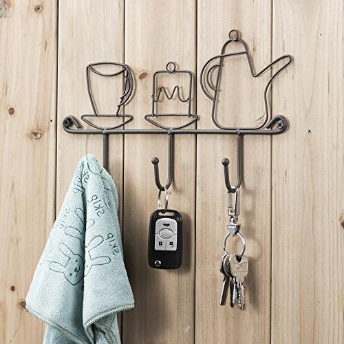 OMMITO Wall Mounted Hooks Rack,11 Inches Iron Hooks Restaurant Keys 1