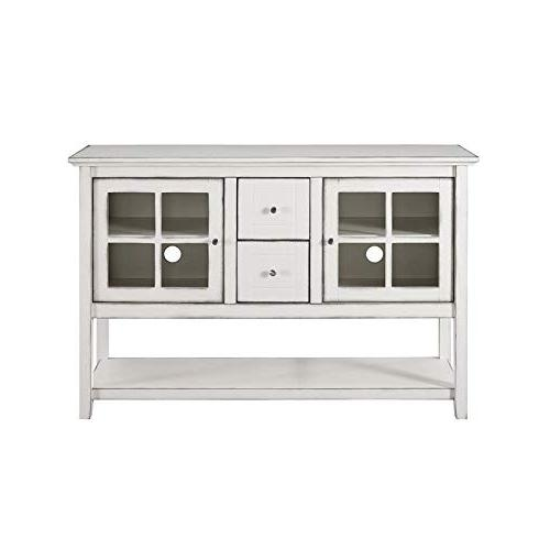 """WE Furniture 52"""" Wood Console Table Buffet TV Stand - - AZ52C4CTAWH"""
