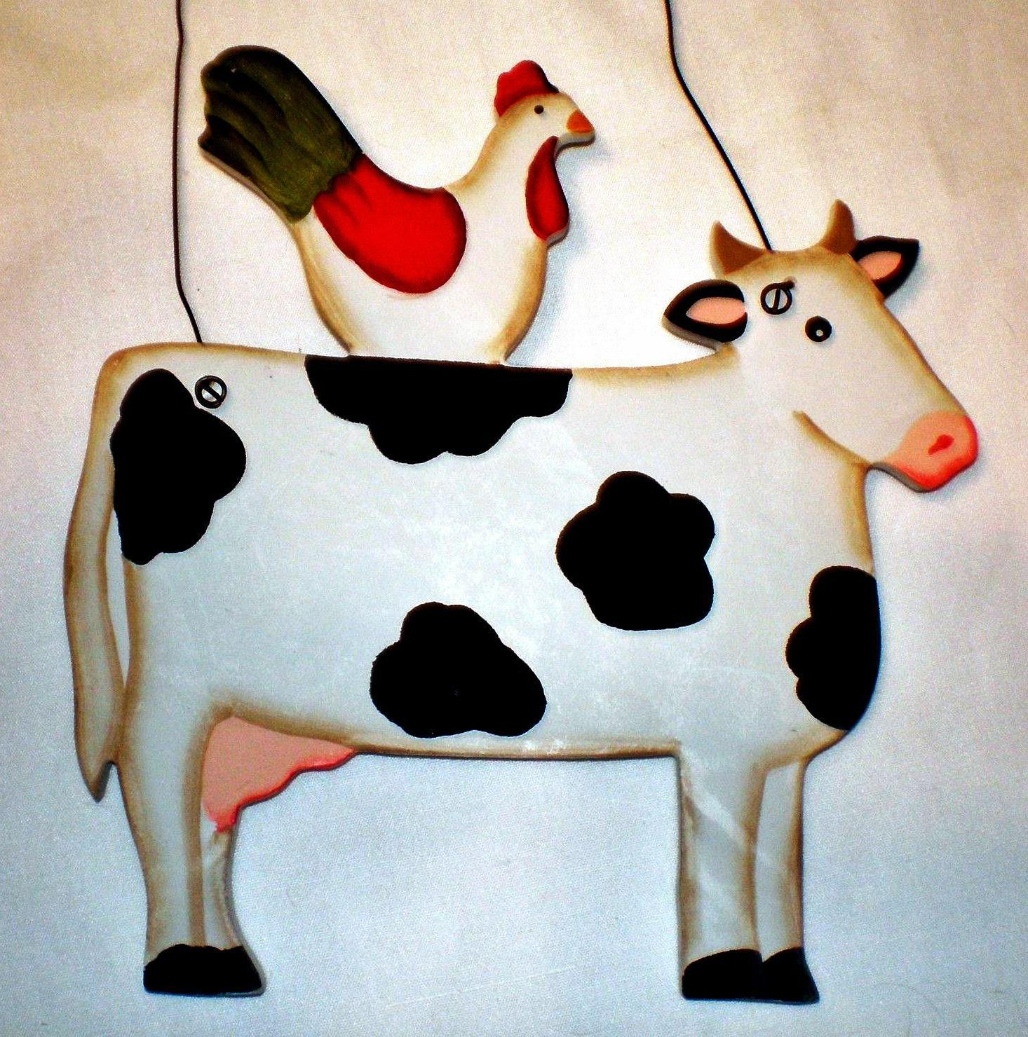 wood cow chicken rooster country kitchen decor