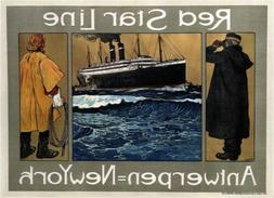 large kitchen wall decor 1908 Red Star Line retro travel ads