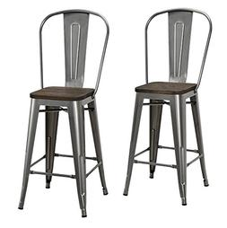 DHP Luxor Metal Counter Stool with Wood Seat and Backrest, S