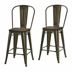 "DHP Luxor 24"" Metal Counter Stool in Antique Bronze"