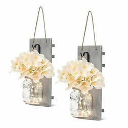 Mason Jar Sconces with LED - Fairy Lights,Vintage Wrought Ir