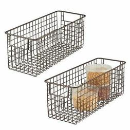 mDesign Farmhouse Decor Metal Wire Food Storage Organizer Bi