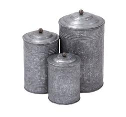Deco 79 38168 Rustic Metal Farmhouse Galvanized Canisters, S
