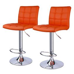 Moderm Square PU Leather Adjustable Hydraulic Bar Stools Wit