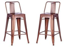 AC Pacific Modern Industrial Metal Barstool with Bucket Back