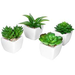 Set of 4 Modern White Ceramic Mini Potted Artificial Succule