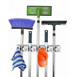 Mop and Broom Holder,5 position with 6 hooks garage storage