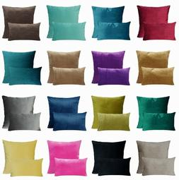Soft Microfiber Velvet Solid Color Throw PILLOW COVER Sofa C