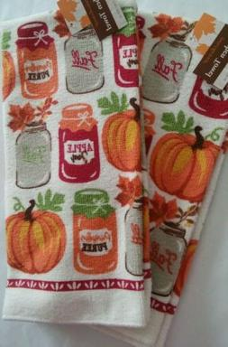 NEW SET OF 2 KITCHEN HAND OR DISH TOWELS HARVEST ORANGE PUMP