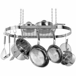 NEW Stainless Steel Oval Pot Rack Cookware Decor Kitchen Han