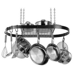 Organize Kitchen Oval Stainless Steel Hanging Pot Rack Decor