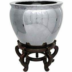 "Oriental Furniture 12"" Pure Silver Porcelain Fishbowl Home &"