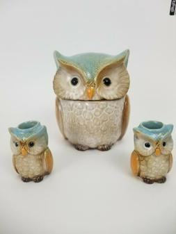 Owl Collectible Kitchen Decor Canister and 2 Candle Holders