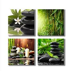 YPY Paintings Bamboo Green Pictures with SPA Zen Stone Candl