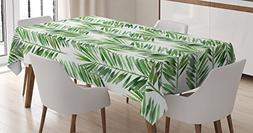Palm Tree Decor Tablecloth by Ambesonne, Watercolor Tropical