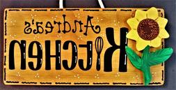 Personalize SUNFLOWER KITCHEN Name SIGN Wall Hanger Hanging
