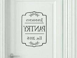 PERSONALIZED FAMILY PANTRY Door Kitchen Vinyl Wall Decal Dec