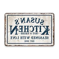 Personalized Vintage Distressed Look Kitchen Seasoned with L