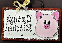pig overlay personalized kitchen sign decor country