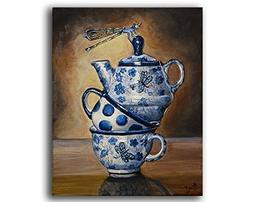 Polish Pottery Dragonfly Teacups Stacked Wall Art Print Rust