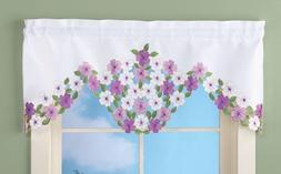 Purple Wild Flowers Kitchen Bath Window Valance Curtain Spri