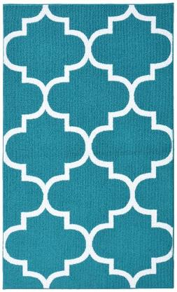 Garland Rug Quatrefoil Area Rug, 5 by 7-Feet, Teal/White