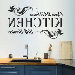 Quote Open 24 Hours Kitchen Decor Vinyl Black Art Home Decal
