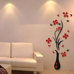 Red Flower Decal 3D Mirror Wall Sticker Removable Kitchen Ho