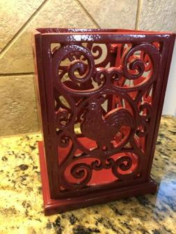 Red Rooster Kitchen Utensil Holder Cooking Vintage Decorativ