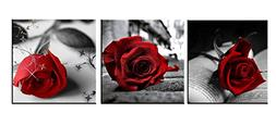 Amoy Art - Red Rose Flowers Gray Book Canvas Wall Art Pictur