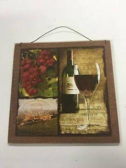 red wine and grapes kitchen decor wooden wall sign tuscan sc