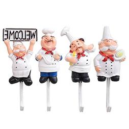Astra Gourmet Pack of 4 Resin French Chef Figurine Wall Hook