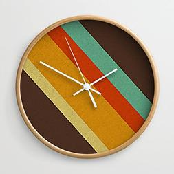 Society6 Retro 70s Color Palette Wall Clock Natural Frame, W