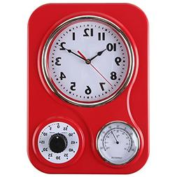Lilyshome Retro Kitchen Wall Clock With a Thermometer and 60