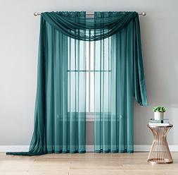 2-Piece Rod Pocket Sheer Panel Curtains Fabric Sheer - Voile