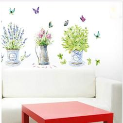 Room Wall Stickers Decor Potted Flower Butterfly Kitchen Gla