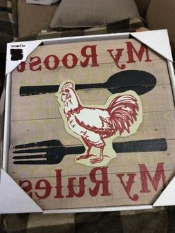 rooster country kitchen wooden wood wall art sign My Roost M
