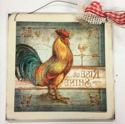 rooster Rise And Shine country kitchen wooden wood wall art